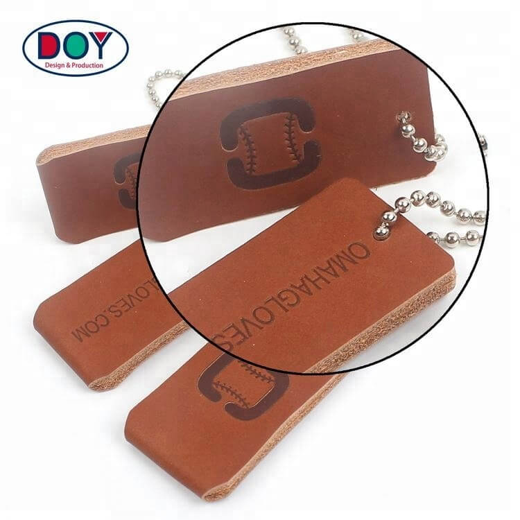 Clothing Genuine Leather Labels Maker Design Custom Embossed Logo Real Leather Hang Tags with Ball Chains-DOYLabel