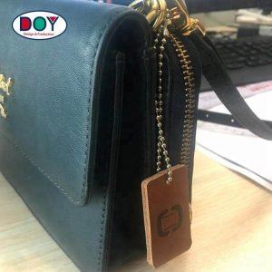 Custom Double Side Embossed Genuine Leather Bag Tags for Handbag
