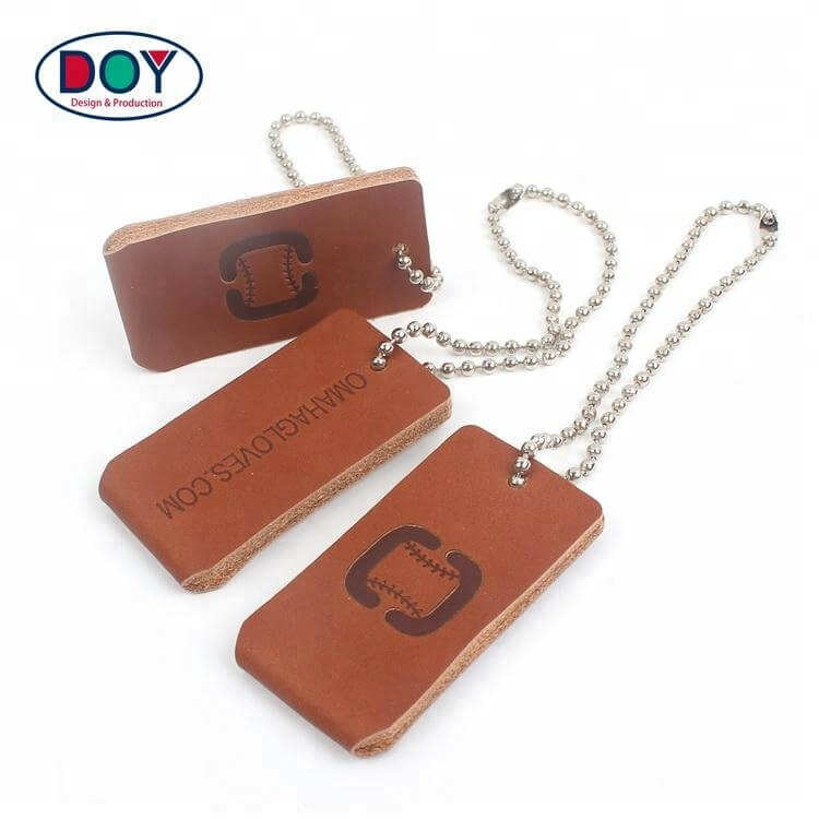 Clothing Genuine Leather Labels Maker Design Custom Embossed Logo Real Leather Hang Tags with Ball Chains -DOYLabel