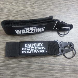 Black Fabric Reflective Letter Lanyard Tactical Keychain With Velcro Fasteners