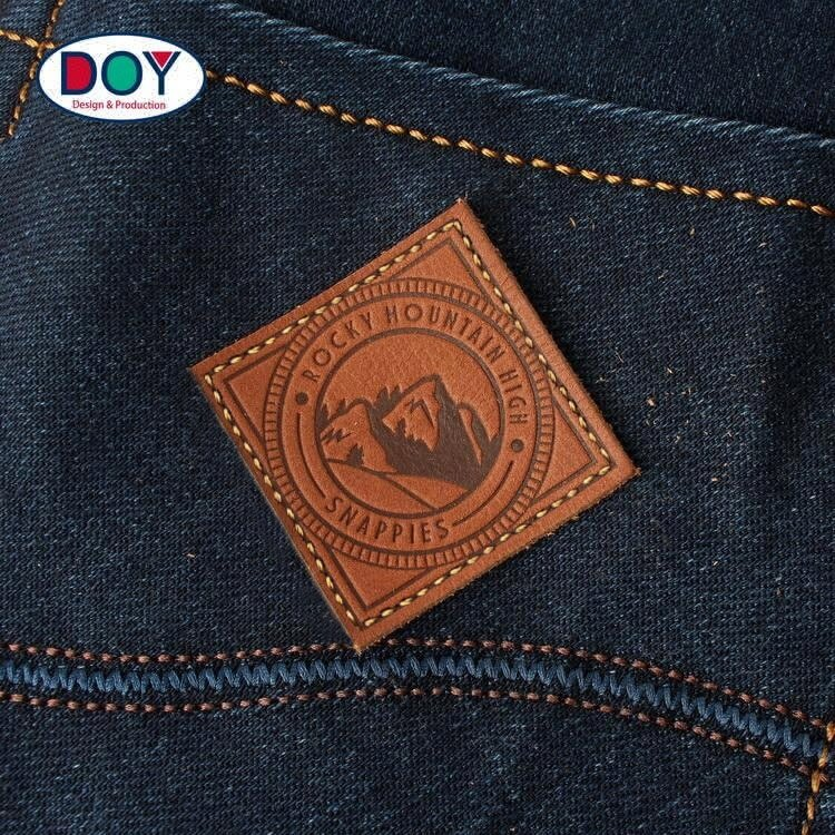 High Quality Hot Stamping Custom Logo Clothing Embossed Real Leather Label Patches for Jeans and Bags