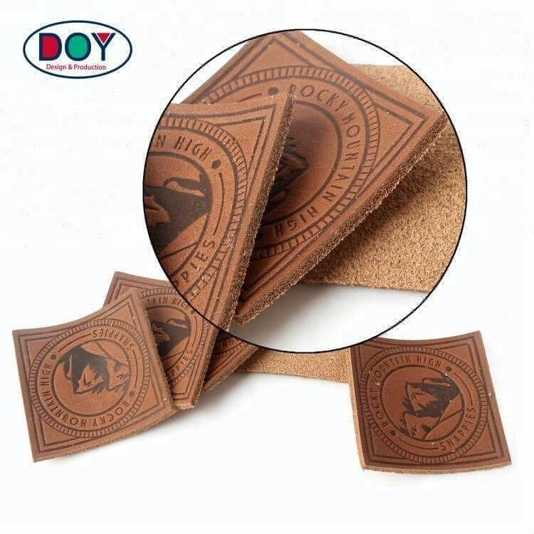 High Quality Hot Stamping Custom Logo Embossed Real Leather Labels Patches for Jeans Bags