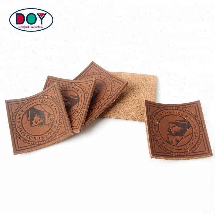 Hot Stamping Custom Logo Clothing Embossed Real Leather Label