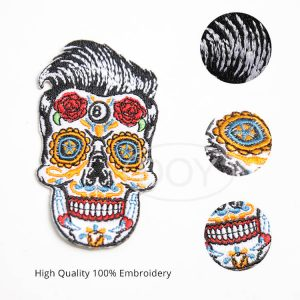 Custom Sugar Skull Calavera Punk Style Iron on Embroidered Patches