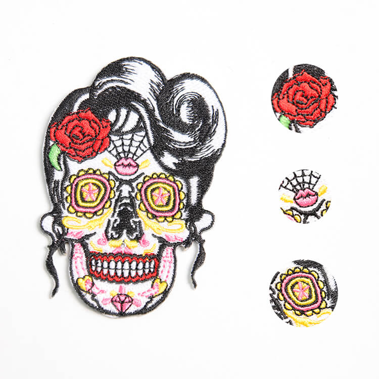 Factory Supplies Custom Sugar Skull Patch Fully Embroidered Iron-on Embroidered Patches Punk Skull Style Appliques