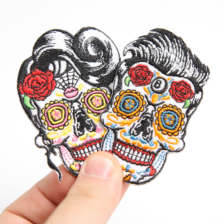 Custom Sugar Skull Patch Fully Embroidered Iron-on Embroidered Patches Skull Style Appliques