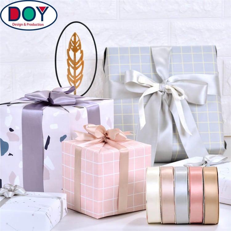 DOYLabel Manufacture Custom Logo Silk Satin Ribbon for Packaging