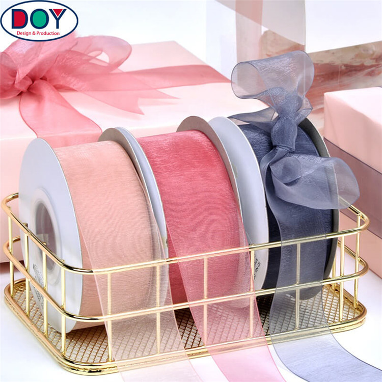 DOYLabel Wholesale Customized Solid Color Sheer Organza Ribbon with your Foil Printed Logo