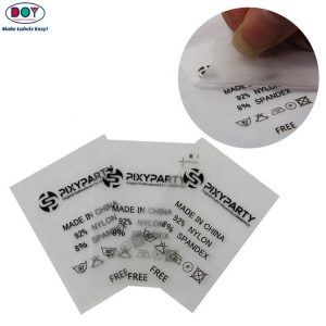Custom Heat Transfer Iron on Garment Care Label Tags for Clothing